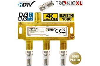 TronicXL Triple BK CATV Broadband Cable Splitter 3-Way TV Soft for DVB-T Cable TV SAT Splitter DVBS DVBS2 DVBT DVBC Digital Full HD TV Antenna Splitter HD Compatible 3D 4K TV VHF