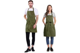 (Bronze Green) - BIGHAS Adjustable Bib Apron with Pocket Extra Long Ties for Women Men, 18 Colours, Chef, Kitchen, Home, Restaurant, Cafe, Cooking, Baking, Gardening (Bronze Green)