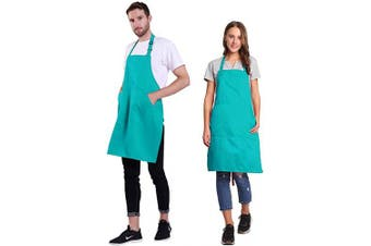 (Scuba Blue) - BIGHAS Adjustable Bib Apron with Pocket Extra Long Ties for Women Men, 18 Colours, Chef, Kitchen, Home, Restaurant, Cafe, Cooking, Baking, Gardening (Scuba Blue)