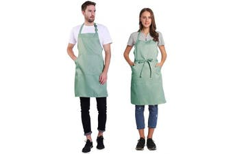 (Gossamer Green) - BIGHAS Adjustable Bib Apron with Pocket Extra Long Ties for Women Men, 18 Colours, Chef, Kitchen, Home, Restaurant, Cafe, Cooking, Baking, Gardening (Gossamer Green)