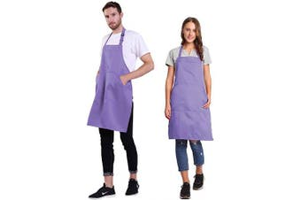 (Lavender) - BIGHAS Adjustable Bib Apron with Pocket Extra Long Ties for Women Men, 18 Colours, Chef, Kitchen, Home, Restaurant, Cafe, Cooking, Baking, Gardening (Lavender)