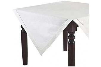 (210cm  x 210cm  Tablecloth) - Fennco Styles Classic Solid Colour Hemstitch Border Tablecloth for Dining Table, Banquet, Wedding, Family Dinner, 210cm x 210cm , White