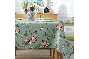 (140cm  x 230cm , Green) - Antuen Rectangle Oblong 100% Cotton Tablecloth Cover Flower Printed Table Cover Tablecloth for Dinner Kitchen Green, 140cm x 230cm