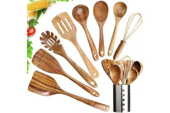 (9) - Wooden Utensils Set with Holder,Wooden Cooking Utensils Natural Teak Wood Cooking Spoons,Nonstick Kitchen Utensils with Spatula(9)