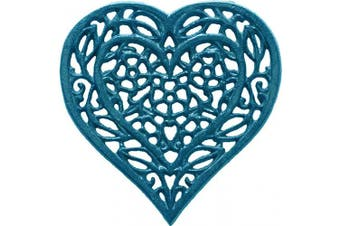 (Blue) - Cast Iron Heart Trivet - Decorative Cast Iron Trivet For Kitchen Or Dining Table - Vintage, Rusted Design - 17cm X 17cm - With Rubber Pegs/Feet - Recycled Metal - Blue