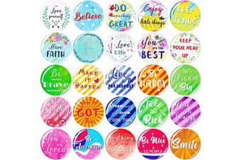 25 Pieces Inspirational Refrigerator Magnets Motivational Quote Magnets Multicoloured Round Fridge Magnets for Fridge Classroom Whiteboard Locker Supplies