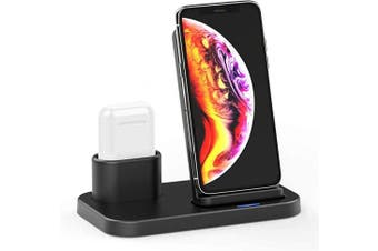 Wireless Charger Stand, 15W Max Fast Wireless Charger for Ipad Airpods 1/2/Pro Upgrade 4 In 1 Qi Wireless Charger Dock Station for Iphone 11/11 Pro/X/Xs/Xr/Xs/Max/8,Apple Watch 5/4/3/2/1