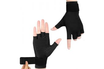 Copper Compression Gloves for Women or Men - 1 Pair - Fingerless Arthritis Hand Relief Gloves (L)