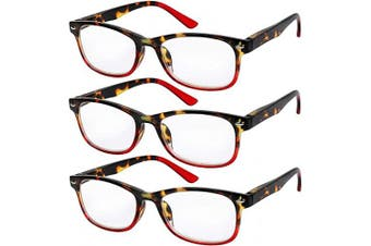 (1.0 x, Set of 3 Red) - Reading Glasses Set of 3 Great Value Spring Hinge Readers Men and Women Glasses for Reading +1