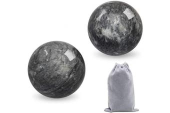 Coolrunner 5.1cm Marble Dark Grey Baoding Balls Chinese Health Stress Relieve Hand Exercise Hand Massage Hand Balls