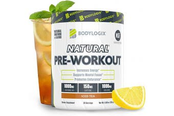 (Natural Iced Tea) - Bodylogix Natural Pre-Workout Powder, NSF Certified, Iced Tea, 30 Servings