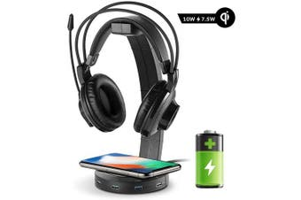 ONEGenug Headphone Stand with USB Charger, Wireless Charging Gaming Headset Holder QI Charging up to 10w, USB hub with 4 Port USB Charging Station for iPhone/Android with LED Indicator