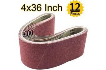 (10cm  x 90cm ) - ABRTEN 12PCS 4x36 inch (100x915mm) Aluminium Oxide Sanding Belts Assorted(2 Each of 60 80 120 150 240 400 Grits) For Belt Sander (4 x 36)