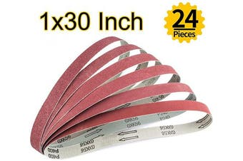(2.5cm  x 80cm ) - ABRTEN 24 PCS 2.5cm x 80cm Aluminium Oxide Sanding Belts Assorted(Kit) (4 Each Of 60 80 120 150 240 400 Grit) For Belt Sander 2.5cm x 80cm