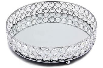 (Silver) - VINCIGANT Mirrored Crystal Vanity Tray - Decorative Serving Tray for Perfume, Jewellery and Makeup (Round, 25cm , Silver)