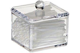 Square Acrylic Cotton Ball Holder Q-tip Holder Bathroom Swab Dispenser