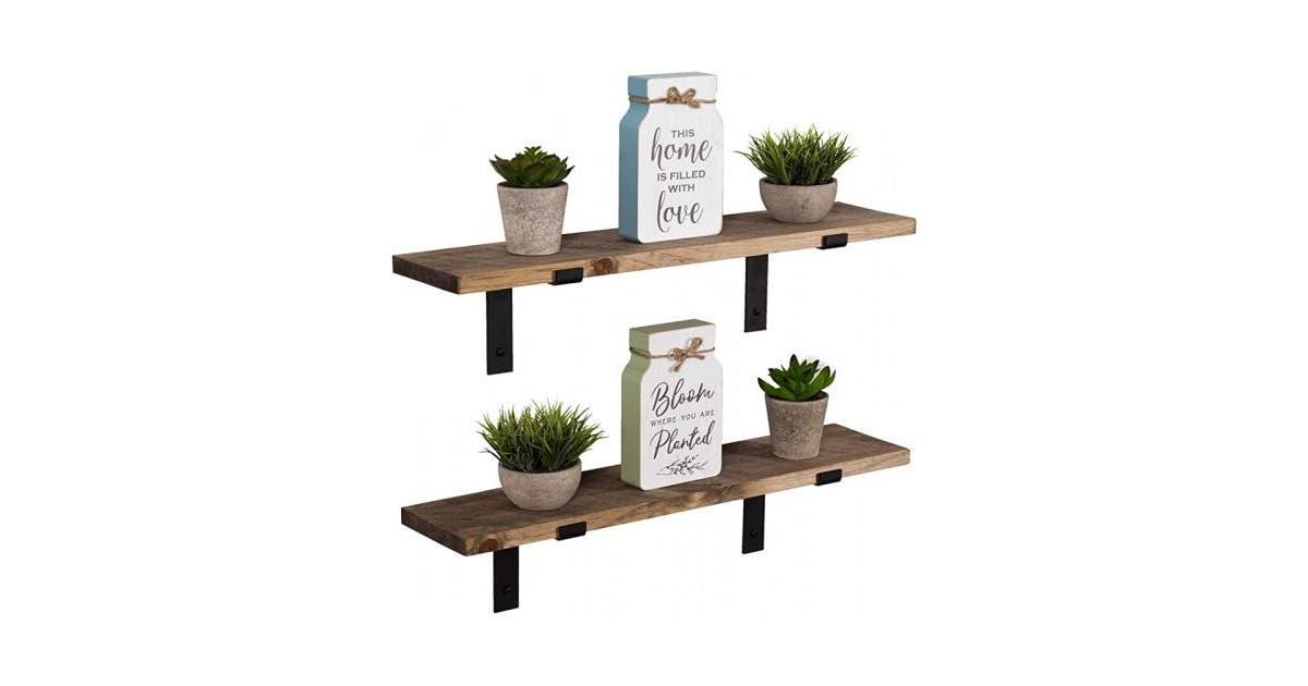 shoptheglobe special walnut imperative decor rustic wood floating shelves wall mounted storage shelf with l brackets usa handmade set of 2 60cm x 14cm special walnut 61 au