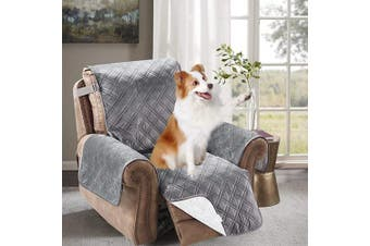 (70cm  Recliner, Gray) - Brilliant Sunshine Premium Silky Velvet Recliner Protector for Seat Width up to 70cm , Slip Resistant, Waterproof, Furniture Slipcover, 5.1cm Strap, Reclining Chair Cover for Pets, Recliner, Grey