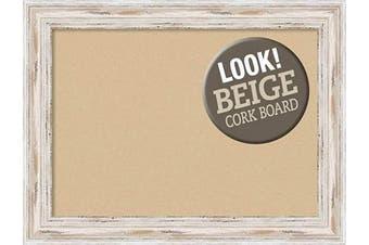 (Board Size 28x20, Alexandria White Wash) - Framed Tan Cork Board Bulletin Board | Tan Cork Boards Alexandria White Wash Frame | Framed Bulletin Boards | 80cm x 60cm .