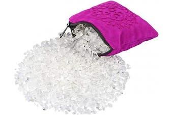 (White/Fuchsia -1) - SUNYIK Natural Rock Quartz Tumbled Chip Stone, Crown Chakra Crystal Pillow for Healing Reiki, Sphere Sculpture Figurine Point Display Stand, Crown Chakra