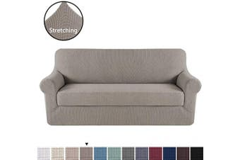 (X-Large, Taupe) - H.VERSAILTEX Sofa Cover 2 Piece Stretch Couch Covers for 3 Cushion Couch Sofa Slipcover Protector Cover with Individual Seat Cushion Cover, Feature Small Checked Jacquard (XL Sofa 240cm - 290cm , Taupe)