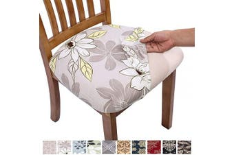 (6, Grey Flower) - Comqualife Stretch Printed Dining Chair Seat Covers, Removable Washable Anti-Dust Upholstered Chair Seat Cover for Dining Room, Kitchen, Office (Set of 6, Grey Flower)