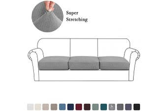 (Large, Dove) - High Stretch Cushion Cover Sofa Cushion Furniture Protector for Sofa Seat Slipcover Sofa Cover Soft Flexibility with Elastic Bottom (3 Pieces Cushion Covers, Dove)
