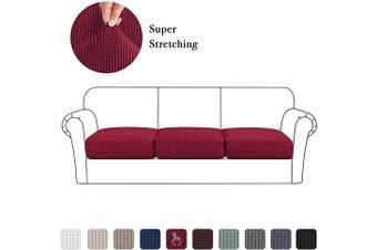 (Large, Wine) - High Stretch Seat Cushion Cover Sofa Cushion Furniture Protector fot Sofa Seat Sofa Slipcover Sofa Cover Soft Flexibility with Elastic Bottom (3 Pieces Cushion Covers, Wine)