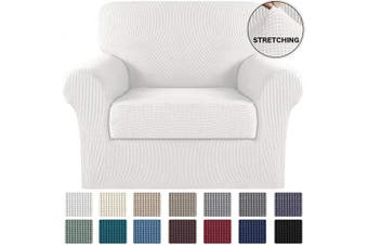 (Ivory) - Turquoize Chair Slipcover 2 Pieces Furniture Cover/Protector with Spandex Jacquard Checked Pattern Couch Covers Armchair Slipcover Machine Washable/Skid Resistance Couch Slipcovers (Chair, Ivory)