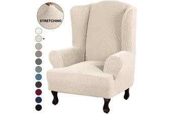 (Natural) - Turquoize Stretch Wing Chair Slipcover Wingback Armchair Chair Sofa Cover Furniture Protector 1-Piece with Elastic Bottom Anti-Slip Foam Kids Jacquard Fabric Small Cheques (Wing Chair, Natural)