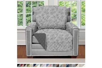 (60cm  Chair, Vintage Floral: Light Gray/Charcoal) - Sofa Shield Original Patent Pending Reversible Chair Protector for Seat Width to 60cm , Furniture Slipcover, 5.1cm Strap, Chairs Slip Cover Throw, Armchair, Vintage Floral Light Grey Charcoal