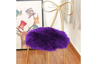 (0.5m x 0.5m, Purple) - Eanpet Faux Sheepskin Chair Pad Round Cover Seat Cushion Pad Soft Fluffy Area Rug for Area Rugs for Chair Seat Pad Couch Pad Area Natural Rugs Purple 0.5m x 0.5m