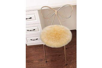 (Ivory Yellow) - LOCHAS Super Soft Round Seat Cushion Faux Fur Sheepskin Chair Cover Pad Plush Rugs for Living Bedroom Sofa Couch, 46cm x 46cm Ivory Yellow