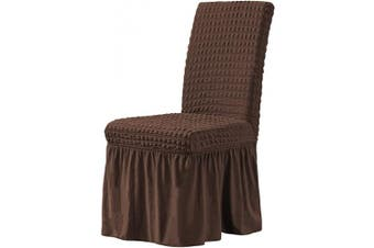 (Chocolate) - CHUN YI Stretchy Universal Easy Fitted Dining Chair Cover Slipcovers with Skirt, Removable Washable Anti-Dirty Furniture Protector for Kids Pets Home Ceremony Banquet Wedding Party (Chocolate)