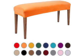 (Orange) - Colorxy Velvet Bench Covers for Dining Room - Stretch Spandex Upholstered Bench Slipcover Rectangle Removable Washable Bench Furniture Seat Protector for Living Room, Bedroom, Kitchen (Orange)