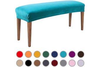 (Peacock Green) - Colorxy Velvet Bench Covers for Dining Room - Stretch Spandex Upholstered Bench Slipcover Rectangle Removable Washable Bench Furniture Seat Protector for Living Room, Bedroom, Kitchen (Peacock Green)
