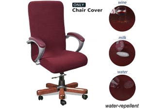 (Large, Wine) - WOMACO Waterproof Office Chair Cover, Jacquard Computer Office Chair Covers Water-Repellent Universal Boss Chair Covers Modern Simplism Style High Back Chair Slipcover (Wine Red, Large)