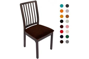 (6PC Seat Cover, Coffee) - Soft Velvet Stretch Fitted Dining Chair Seat Covers, Removable Washable Anti-Dust Dining Room Upholstered Chair Seat Cushion Cover Kitchen Chair Protector Slipcovers with Ties - Set of 6, Coffee
