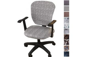 (Grey) - Comqualife Stretch Printed Computer Office Chair Covers Washable Anti-Dust Universal Spandex Chair Back Cover Seat Cover Rotating Chair Slipcovers, Grey