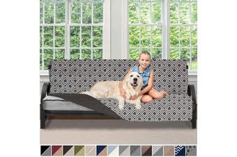 (180cm  Futon, Diamond/Charcoal) - Sofa Shield Original Patent Pending Reversible Futon Protector for Seat Width up to 180cm , Furniture Slipcover, 5.1cm Strap, Daybed Couch Slip Cover Throw for Pets, Kids, Futon, Diamond Charcoal