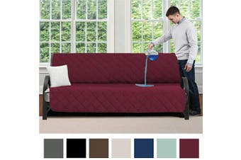 (180cm  Futon, Burgundy) - MIGHTY MONKEY Premium Water and Slip Resistant Futon Slipcover, Seat Width Up to 180cm , Absorbs 5 Cups of Water, Oeko Tex Certified, Suede-Like, Furniture Cover for Futons, Kids, Futon, Burgundy