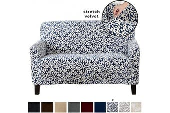 (Love Seat, Dark Denim Blue - Snowflake) - Great Bay Home Velvet Plush Stretch Loveseat Slipcover. Velvet Loveseat Furniture Protector, Soft Anti-Slip, High Stretch (Loveseat- 2 Seater, Dark Denim Blue - Snowflake)