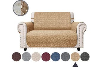 (140cm , Sand) - Ameritex Loveseat Cover Water-Resistant Quilted Furniture Protector with Back Nonslip Paws Slipcover for Dogs, Kids, Pets Loveseat Slipcover Stay in Place for Leather (Sand, 140cm )