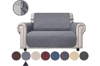 (140cm , Light Grey) - Ameritex Loveseat Cover Water-Resistant Quilted Furniture Protector with Back Nonslip Paws Slipcover for Dogs, Kids, Pets Loveseat Slipcover Stay in Place for Leather (Light Grey, 140cm )