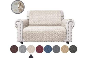 (140cm , Beige) - Ameritex Loveseat Cover Water-Resistant Quilted Furniture Protector with Back Nonslip Paws Slipcover for Dogs, Kids, Pets Loveseat Slipcover Stay in Place for Leather (Beige, 140cm )
