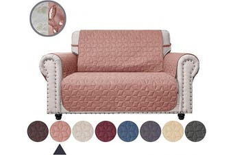 (120cm , Pink) - Ameritex Loveseat Cover Water-Resistant Quilted Furniture Protector with Back Nonslip Paws Slipcover for Dogs, Kids, Pets Loveseat Slipcover Stay in Place for Leather (Pink, 120cm )