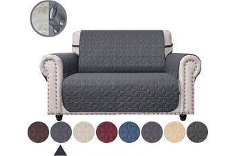 (140cm , Dark Grey) - Ameritex Loveseat Cover Water-Resistant Quilted Furniture Protector with Back Nonslip Paws Slipcover for Dogs, Kids, Pets Loveseat Slipcover Stay in Place for Leather (Dark Grey, 140cm )