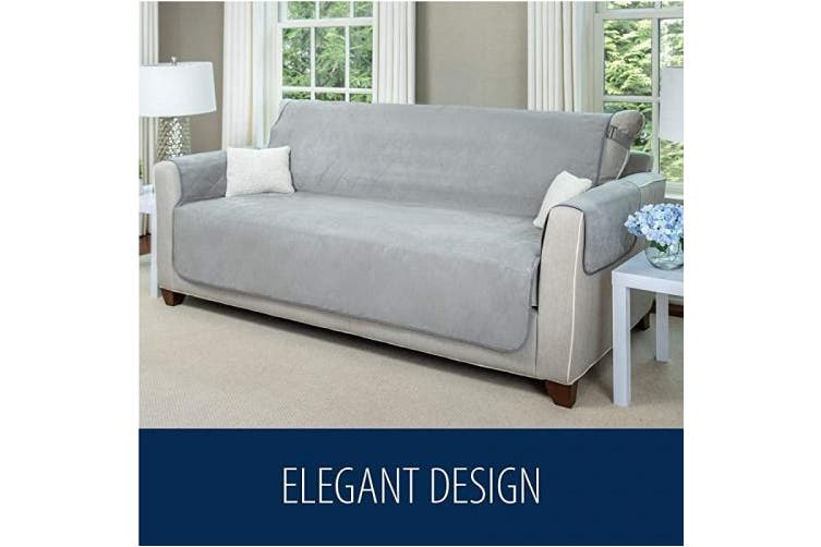 (140cm  Loveseat, Taupe) - MIGHTY MONKEY Premium Water and Slip Resistant Loveseat Slipcover, Seat Width Up to 140cm , Absorbs 4 Cups of Water, Oeko Tex Certified, Suede-Like, Cover for Loveseats, Dog, Love Seat, Taupe