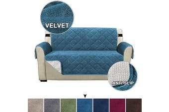 (Peacock Blue) - Velvet Loveseat Cover Sofa Cover Loveseat Protector for Pets Couch Covers for 2 Cushion Couch Width up to 140cm With 2 Straps, Slid Resistant Furniture Protector Covers (Loveseat, Peacock Blue)