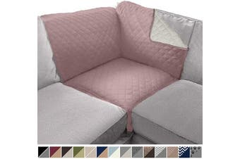 (80cm  x 80cm  Sofa Corner Sectional, Dusty Rose/Linen) - Sofa Shield Original Patent Pending Reversible Sofa Corner Sectional Protector, 80cm x 80cm , Washable Furniture Protector, 5.1cm Strap, Sectional Corner Slip Cover for Pets, Dogs, Dusty Rose Linen